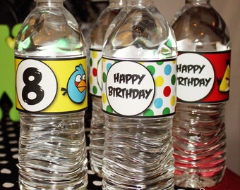 24 Waterproof WATER WRAPS - Printed & Mailed - You choose theme - Drink Labels - 2 dozen - Birthday, Shower, Wedding, etc