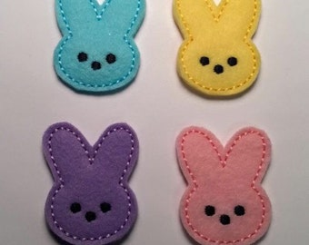 Easter Bunny Marshmallow Peep YOU CHOOSE COLOR Pink Blue Yellow Purple Embroidered Felt Applique