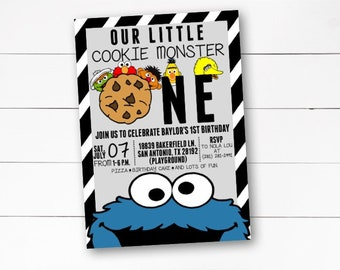 Cookie Monster Birthday Invitation, Our Little Cookie Monster Birthday Invitation, Sesame Street Birthday Invitation, Cookie,  DIY/ Printed