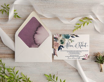 Dusky Rose Watercolor Floral Wedding Invitation Suite, Custom, Envelope Liner, Made To Order   Deposit
