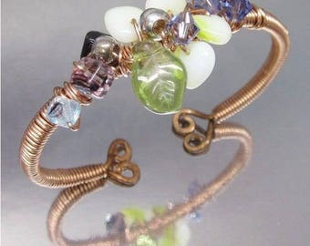 Copper Wire-Wrapped Green Purple Bead Cluster Bangle
