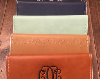 Monogrammed Scalloped Wallet