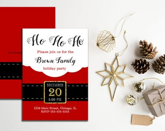 Santa Holiday Party Invitation, Christmas Party Invitation, Secret Santa Invitation, Christmas Party Printable Invitation, Holiday Invite