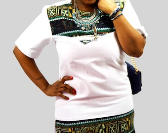 African print fabric and linen tunic