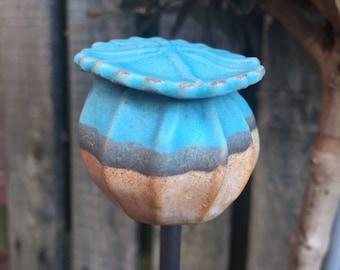 Ceramic garden stake, handmade garden sculpture,  garden ornament,  bespoke garden pottery, ceramics, unique design