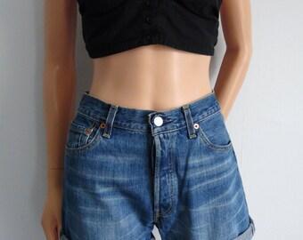 High waisted shorts, Levis 501, stonewash blue distressed denim, cuffed rolled, hotpants, waist 30, medium large