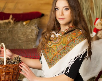 embroidered scarves, cloak, Floral  scarves ,wraps, ukrainian Shawl