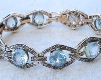 Victorian Diamond Blue Topaz 14 Ct Gold Silver Bracelet
