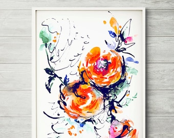 Flower painting, abstract painting, colorful art, floral wall decor, watercolor floral print, purple flowers, Watercolor flower print,
