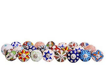 10 Knobs Hand Painted Ceramic Cabinet Drawer Pull (Multicolour)