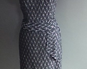Black and silver evening dress,  Vintage black sixties evening mini dress with silver pattern