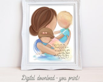 INSTANT DOWNLOAD Room Decor for Babys Room, Mother Brunette, Son Blonde, Daughter Light Brown - Family Picture Wall Art, Gift for Wife, Mom