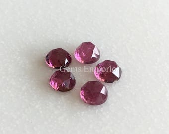 Pink Tourmaline 5 mm Rose Cut Round Cabochons. African Origin. Good Color and Luster. Price per piece.