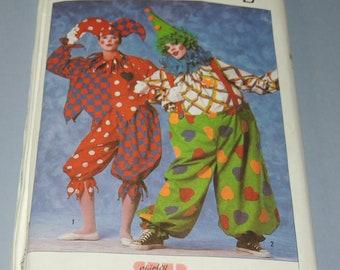 Uncut L Jester or Clown Costume Pattern Simplicity 9344