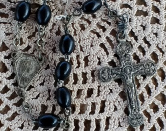 Black Prayer Beads Catholic Rosary with metal Crucifix 16 inch Religious Rosary Prayer Beads