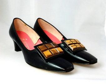 Vintage 1960s Pumps | 60s Vintage Leather Black Pilgrim Pumps | Citations | New Stock | Never Worn |  Size 7