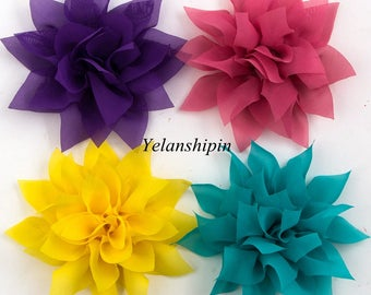 """4.4"""" 14colors Tulle Lotus Chiffon Flower For Baby Girls Hair Clips Accessories Chic Artificial Fabric Flowers For Headbands"""