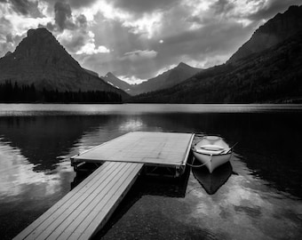 Mountain Lake with Boat and Dock Printed on Aluminum
