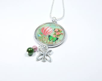 The hot air balloon necklace and the pink and Green Butterfly