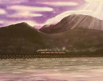 Barmouth Bridge and Mawddach estuary,Original acrylic painting.