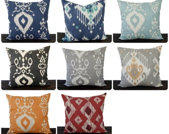 Throw piillow cover ikat cushion cover pillow case gray blue orange red aqua charcoal maroon