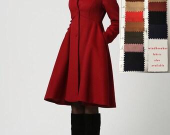 Wool Coat, Winter Coat , Red coat , hooded coat , women coat , long Coat , Winter Coat Woman , Wool Jacket , winter jacket , dress coat 1117