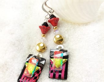Fused dichroic glass earrings, glass jewelry, unique earrings,dichroic earrings, Hana Sakura, handmade red earrings, glass jewelry, dichroic