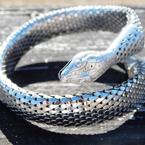 Whiting Davis Snake Bracelet / Mesh Coil Serpent / Cleopatra / 1960s Cuff / Egyptian Revival