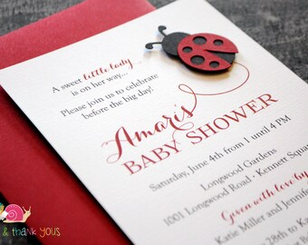 Ladybug Baby Shower Invitations · A6 FLAT · Red and Black · Little Lady Baby Shower | Spring | Birthday Party