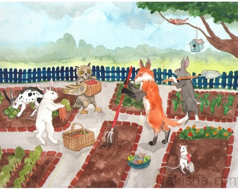 Community Garden - Fine Art Print featuring Rabbits, a Fox, a Mouse and an Owl.