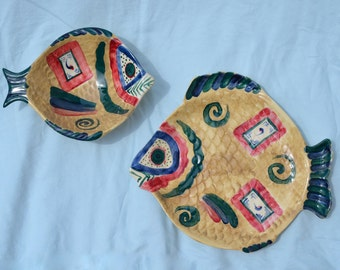 Handmade Fish Plates and Bowls, M Kate Originals, 1991