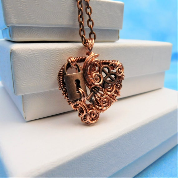 Skeleton Key Necklace Rustic Handmade Lock and Key Heart Pendant Unique Artisan Crafted Woven Copper Wire Wrapped Jewelry Present Ideas