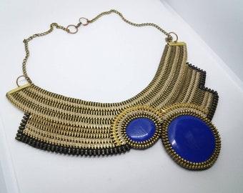 Zipper necklace, Zipper jewellery, Royal blue, Epoxy resin, Evening Jewelr , Original Artwork