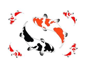 koi fish clipart etsy rh etsy com japanese koi fish clipart koi fish pond clipart
