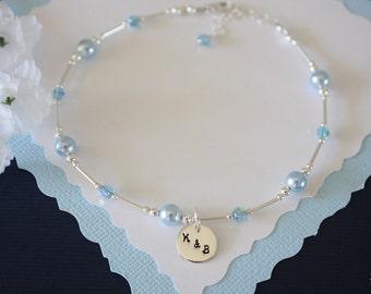 Something Blue Anklet, Bride Gift, Blue Pearl Anklet, Initial Charm Anklet, Pearl & Initial Sterling Silver Adjustable Anklet, Monogram