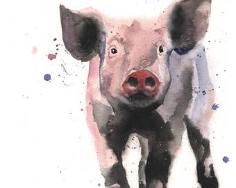 PIGLET PRINT - piglet wall art, watercolor pig art, pig wall art, pig decor, farm art, farm decor, farm animal decor, pig lover gift