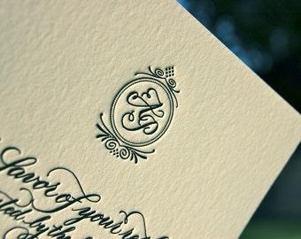 Custom Monogram Hand Calligraphy Letterpress Wedding Invitations  DEPOSIT