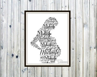 Midwife Gift, Doula, Pregnancy Coach Gift, Natural Birth, Wall Decor, Word Cloud, Typography Print, Home Birth, Midwifery