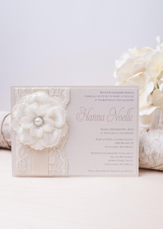 HANNA: Ivory Pearl Lace Baptism Invitation Unique Flower