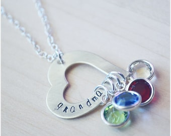 Sterling Silver Grandma Necklace - Valentine's Day - Personalized Heart Necklace Mother's Necklace Personalized Jewelry Birthstone Necklace