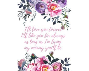 Happy Mothers Day/ 5x7 card/ Printable/ Mother's Day Decoration/ Watercolor Floral