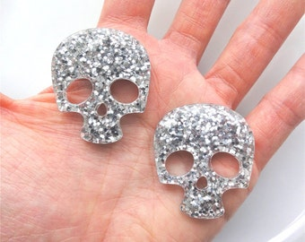 4 pcs - Silver Glitter Skull Resin Flatback Cabochon - 36mm - Kawaii - Kitsch - Decoden - Punk - DIY