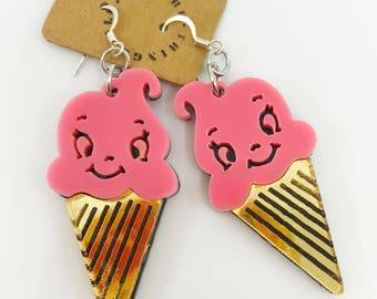 Ice Cream Earrings, Dessert Earrings, Large Acrylic Earrings, Pink Ice Cream Earrings, Ice Cream Cone Earrings, Kawaii Earrings, Harajuku