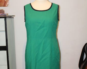 Vintage 1990's Green and Navy Oleg Cassini 60's Style Shift Dress (Size 14 (UK))