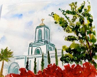 Newport LDS Temple Watercolor Temple 8X10 Print by Elsa Ferre