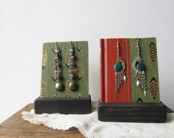 Pair Earring Displays - Green, Rust w Gold Feather Design  - Reversible Recycled Book Jewelry Display - Ready to Ship