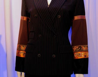 Jean Paul GAULTIER Navy Embroidered Ribbon Detail Pinstripe Pant Suit Wide Leg High Waist Set