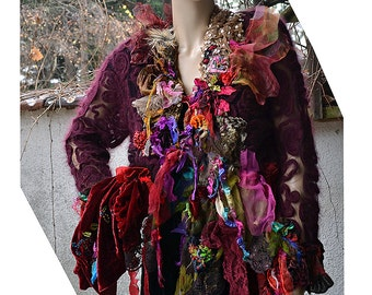 RESERVED For N. Wonderful Art To Wear Long Rich Wool Jacket With Silk Velvet  The RED QUEEN  Forest  Fairy Antoinette Boho Gipsy Tattered
