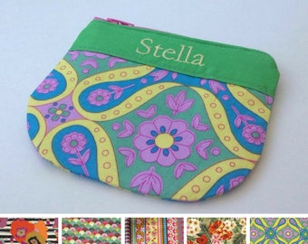 Personalised, multi colour, pencil case, pouch, cosmetic bag, clutch, zipper pouch with embroidery, choose your fabric multi colour