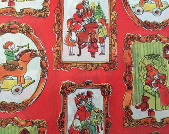 Vintage Wrapping Paper - Victorian Vignettes - Christmas Cameo Collage - Vintage Christmas Scenes - 1 Unused Full Sheet Christmas Gift Wrap